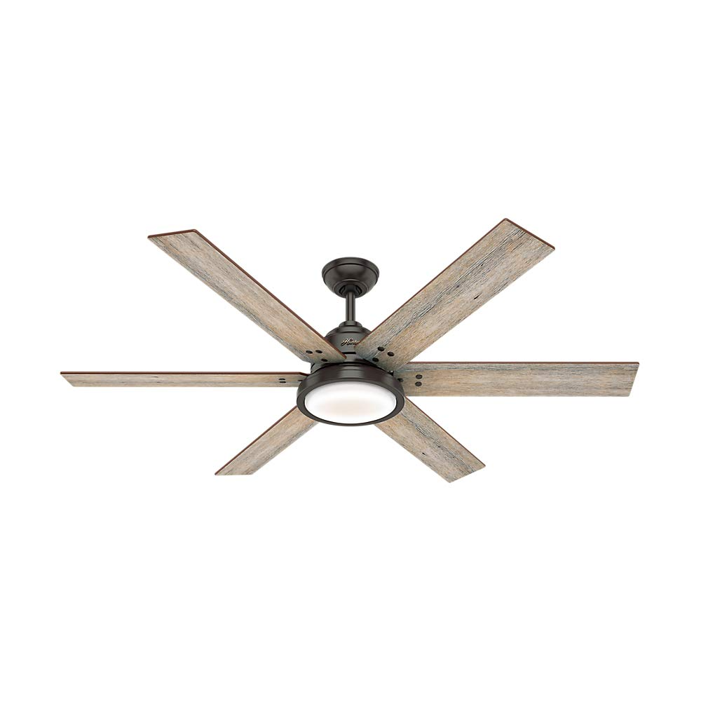Hunter Indoor Ceiling Fan with LED Light and remote control – Warrant 60 inch, Nobel Bronze, 59461