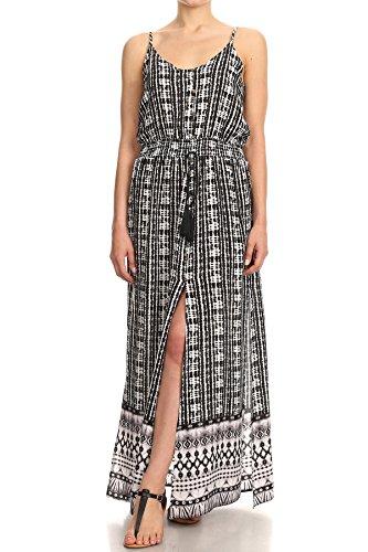 (ShoSho Womens Maxi Dresses Summer Boho Casual Long Slits Split Waist Tassles Tie Dye Print Black/White Large)