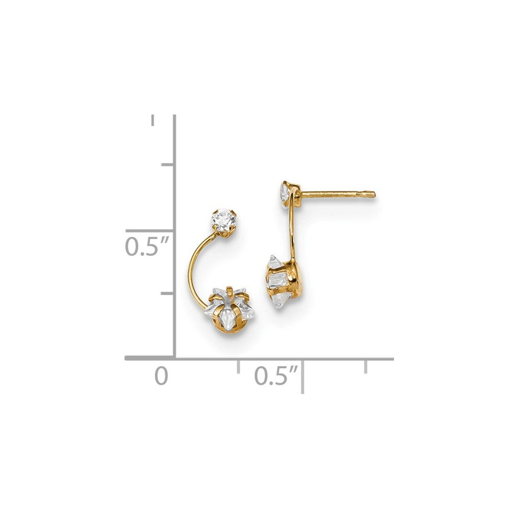 14k Polished CZ Shoot Star Post Earrings Celestial