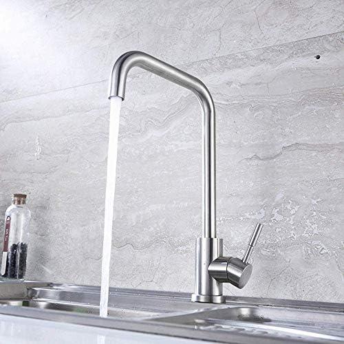 S-TING 蛇口 バスルームのシンクは、スロット付き浴室の洗面台のシンクホットコールドタップミキサー盆地ステンレススチールブラシは304枚の洗濯盆地のお皿を洗うホットタップと冷水の蛇口セブンチューブキッチン単穴 水栓金具 立体水栓 万能水栓