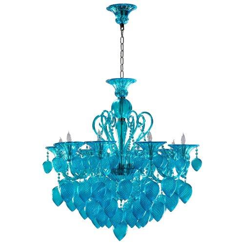 Bella Vetro Light Blue Aqua Murano Glass 8 Light Ornament Chandelier