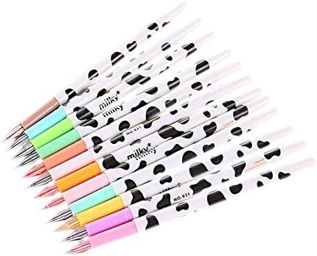 Kentop Gelpennen met pailletten meerkleurig gelbalpen 12 kleuren motief koe om te tekenen 12 stuks