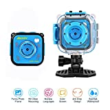 Kids Camera Waterproof, Children Digital Camera Video Action Camera 1080P HD Underwater Sports Camera Camcorder DV for Kids Girls Boys Birthday First Camera (Blue without WiFi)