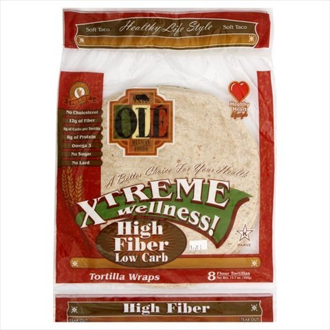 Ole Mexican High Fiber Low Carb Flour Tortillas, 8 Count (Pack of 6)
