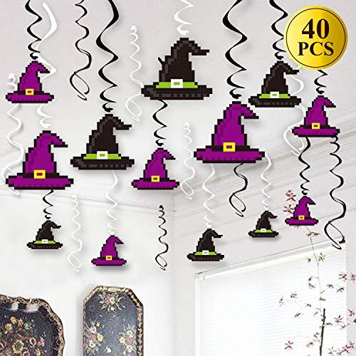40Pcs Minecraft Halloween Hanging Decorations Witch Hat Swirl Hanging Decoration