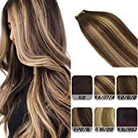 Labhair Tape in Hair Extensions Medium Chocolate Brown #4 Highlighted Camel Blonde #27 Balayage Skin Weft Tape In Ombre Human Hair Extensions 16inch 20pcs/50g