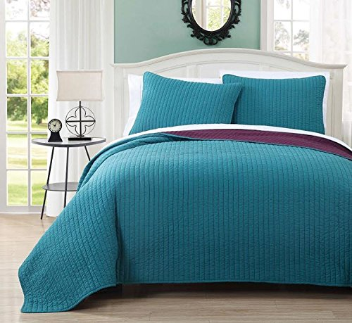 Simply Stylish Your Room Will Become with The Full/Queen Project Runway Reversible Quilted Coverlet Set; 100% Microfiber Fabric in Brilliant Teal and Plum Color; Hypoallergenic