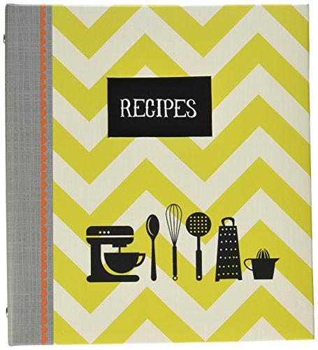 (C.R. Gibson Green Striped Recipe Binder, 9'' x 9.5'', 20 pgs.)