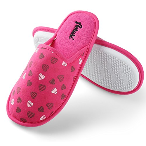 Aerusi Womens Mellie Hearts Slipper Hot Pink