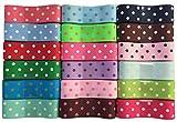 DUOQU 36 Yards 7/8 Inch Polka Dots Printed Grosgrain Ribbon (18 Colors, 2 Yards Each)