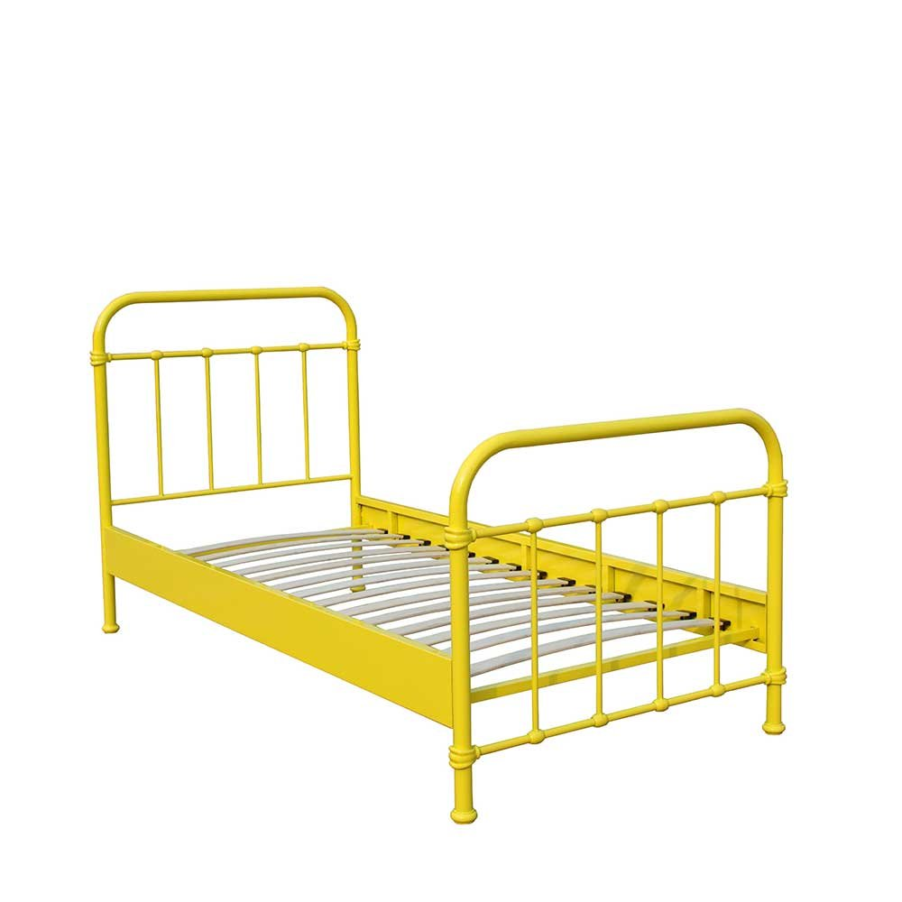 Pharao24 Kinderbett in Gelb Metall