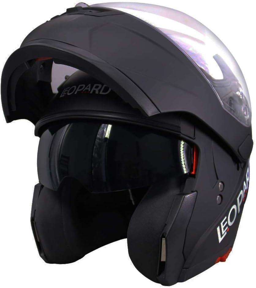 Matt Black XS Leopard LEO-838 Double Visor Modular Flip up front Motorcycle Motorbike Helmet ECE 2205 Approved 53-54cm