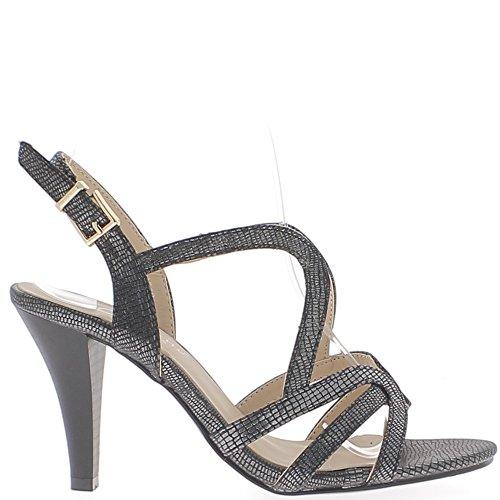 Sandales noires à talon fin de 9cm aspect argenté fines brides