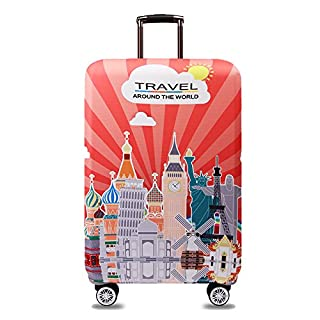 "TRAVEL KIN Thickened Luggage Cover 18/24/28/32 Inch High Elastic Travel Suitcase Spandex Protective Cover (S(18""-21""luggage), World Attractions)"