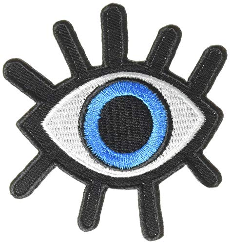 Pack of 2 Eye eyeball tattoo wicca occult goth punk retro applique iron-on patch -