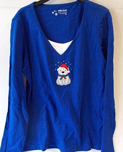 Polar Bear Santa Winter Christmas Long Sleeve Shirt Adult Womens S NWT K Mart Christmas Decorations