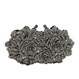 Dazzling Flower Crystal Evening Bags For Women Formal Wedding Party Cocktail Clutch Handbag Purse (Gray)