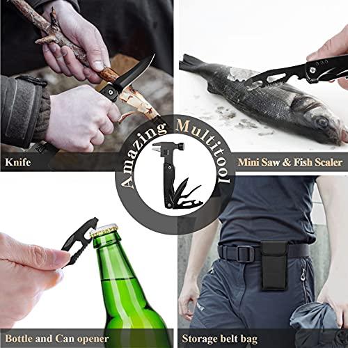 Multitool, 15 in 1 Taschenwerkzeug mit Rollgabelschlüssel Hammer Taschenmesser Schraubendreher, Outdoor Survival Kit Geschenk für Männer, Vatertag Papa Geschenk