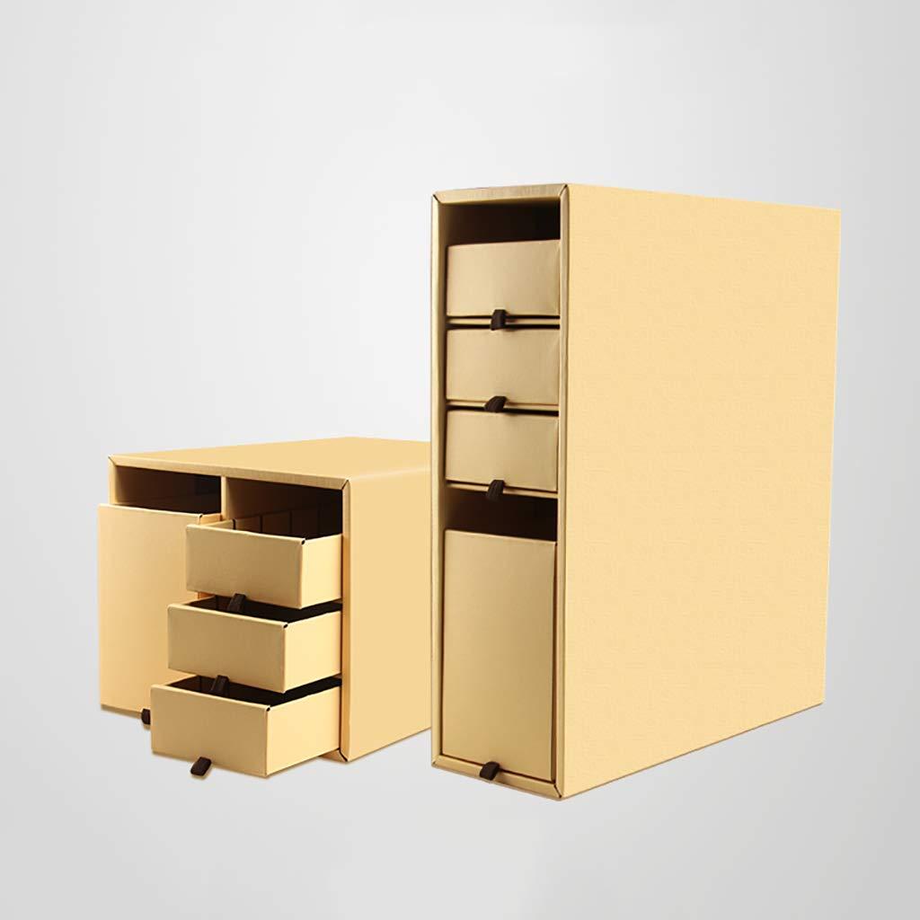 Storage Caja de Almacenamiento Caja de Almacenamiento del cajón Capa inductivos de separación Caja de Archivos de Datos triviales inductivos Capa Gabinete de Archivos de Escritorio Papel Corrugado (Color : C) 33c43b