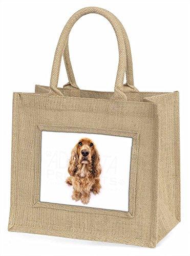Advanta ad-sc72bln Cocker Spaniel Hund Große Einkaufstasche/Weihnachten Geschenk, Jute, beige/natur, 42x 34,5x 2cm