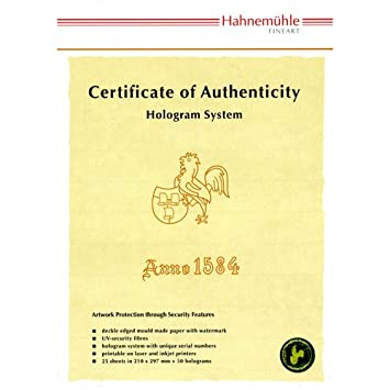 Hahnemühle Certificates Of Authenticity, Printable & Tamper Proof