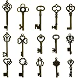 N'joy 15-Piece Mixed Steampunk Vintage Skeleton Keys,Middle Size,Antique Bronze(X15B)