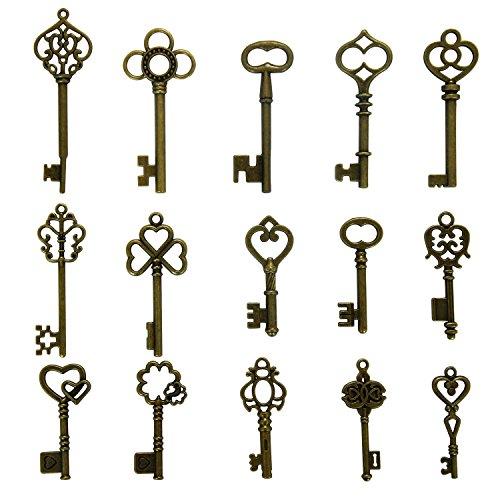 N'joy 30PCS Vintage Skeleton Keys, Mixed Steampunk Keys, Antique Bronze (X30B)]()