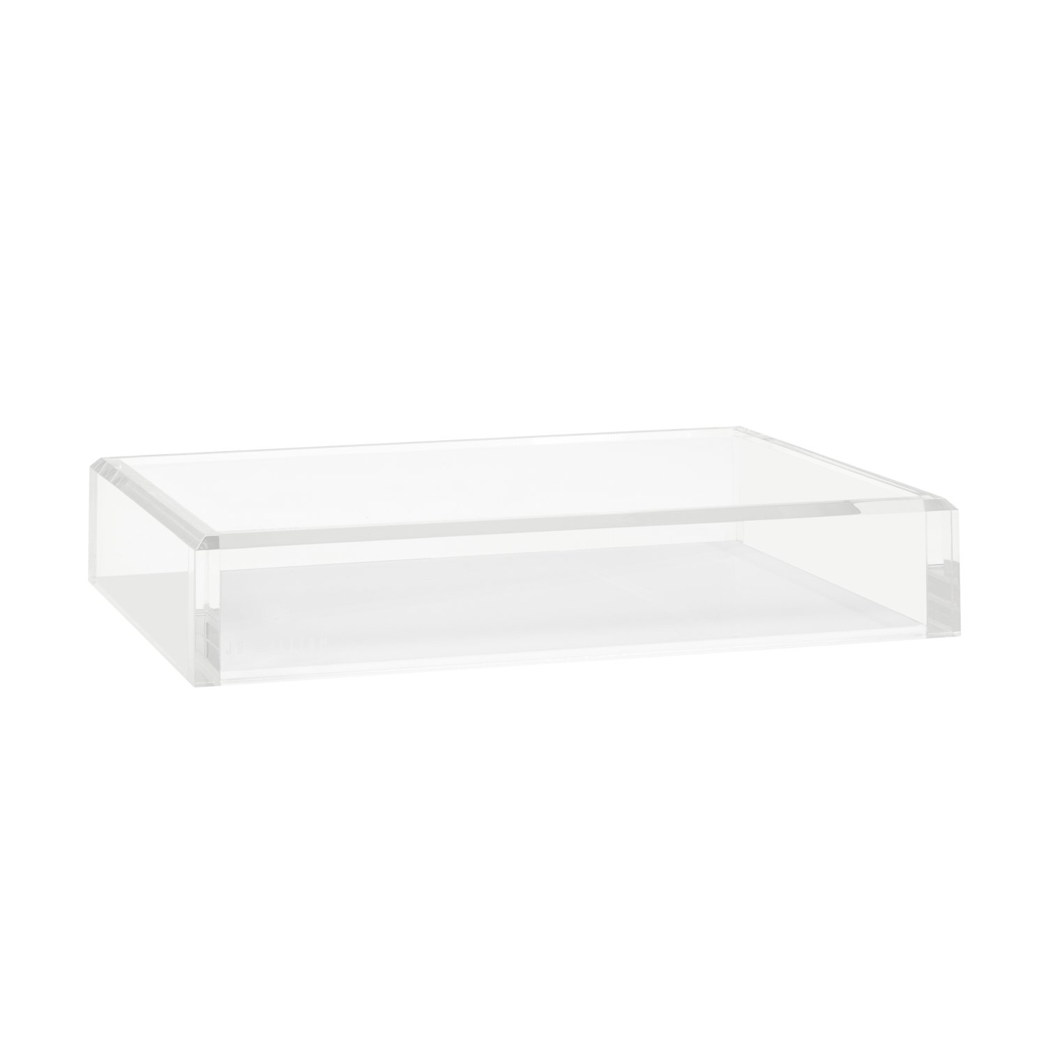 JR William Modern Decor Acrylic Tray, Authentic Acrylic Crystal Clear & Hamptons White Tray, Decorative Tray, Vanity Tray, Valet + Dresser Organizer Tray in Luxury Gift Box Packaging by JR William