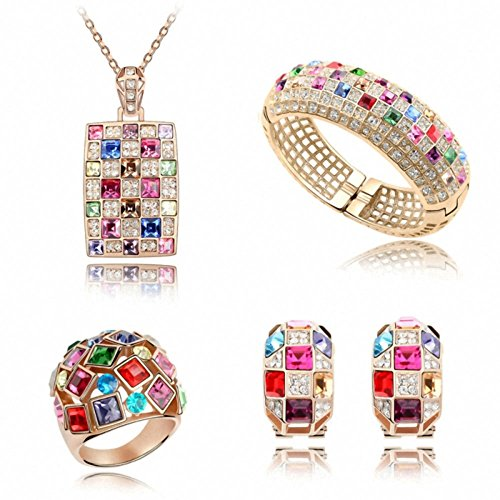 TAOTAOHAS Swarovski Elements Crystal Necklace Value Set [Luxury Queen, Mixed Colors ] 18KGP Rhinestone