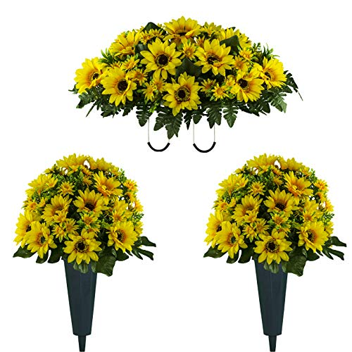 Sympathy Silks Artificial Cemetery Flowers – Realistic Vibrant Sunflowers Outdoor Grave Decorations - Non-Bleed Colors, and Easy Fit - Two Yellow Sunflower Bouquets and One Yellow Sunflower Saddle
