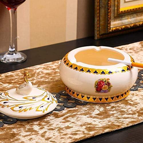 SRX ヨーロピアンスタイルのセラミック灰皿ピーコッククリエイティブ大蓋灰皿ファッションモデルルームリビングルームの装飾のベッドルームホーム(カラー:ホワイト)