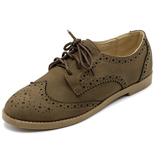 Up Lace Lace Flats (Ollio Women's Flat Shoe Wingtip Lace Up Faux Nubuck Oxford M2920 (8 B(M) US, Taupe))