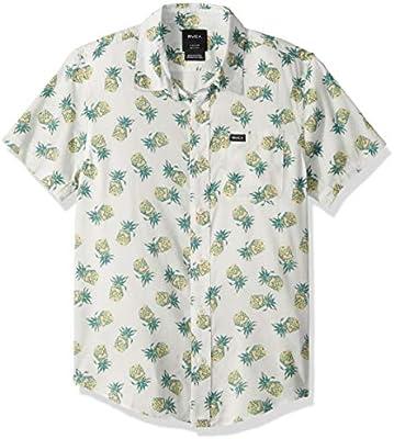 c803b92770 RVCA Boys' Big ANP Pack Short Sleeve Woven Button UP Shirt, Antique ...