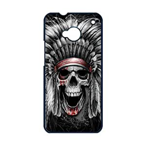 HTC ONE M7 Case,Aztec Tribal Indians Chief Skull High Definition Pattern Cover With Hign Quality Hard Plastic Protection Case