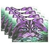 QYUESHANG Cat Surreal Animal Purple Bridge Placemats Set Of 4 Heat Insulation Stain Resistant For Dining Table Durable Non-slip Kitchen Table Place Mats