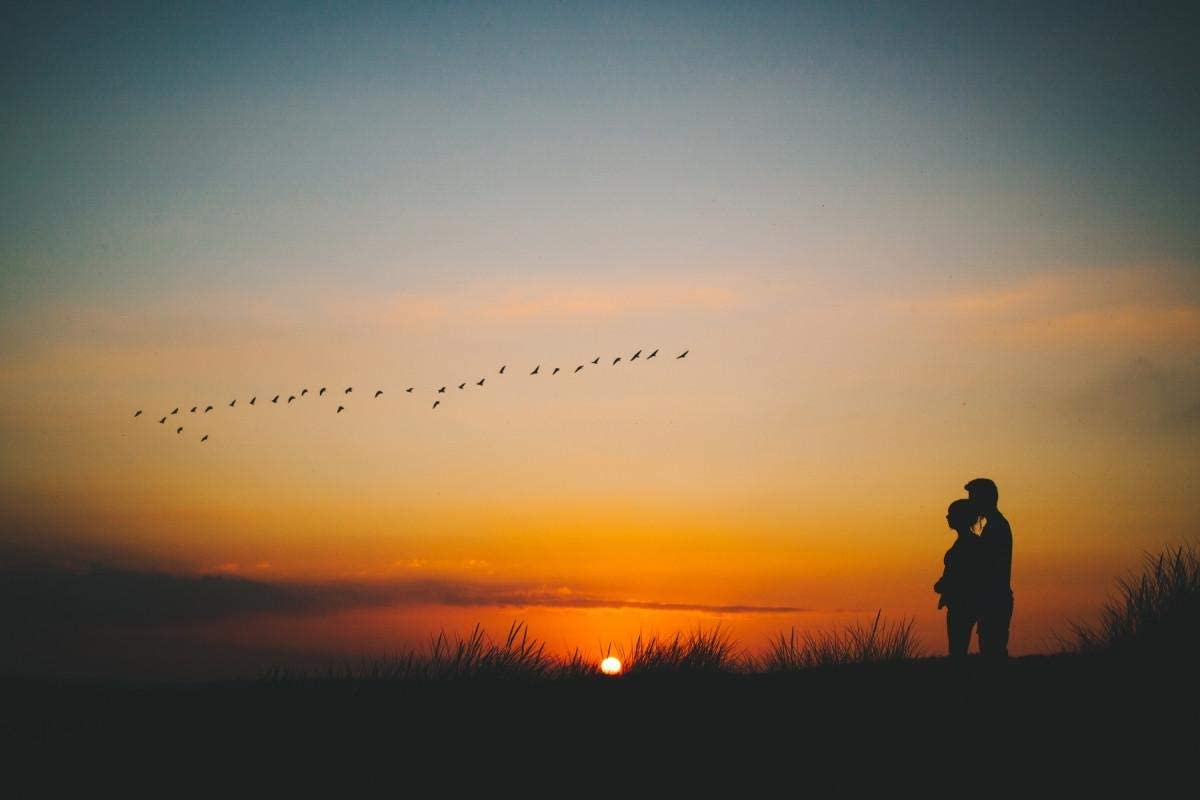 HEE WAG Puesta del Sol Cielo Nubes Siluetas Amantes y Parejas Cuadros Hermosos del Paisaje Que pintan por los números DIY único