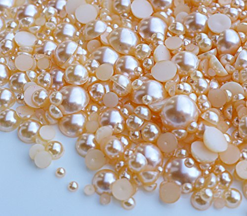 (LOVEKITTY 800 pcs Mixed Sizes Flatback Pearl Cabochon for crafting (Champagne))