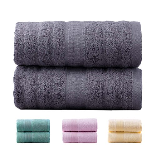 Jml Bamboo Bath Towels | 2 Piece Luxury Bath Towel Set for Bathroom(27″x54″) Antibacterial and Hypoallergenic, Soft and Absorbent, Odor Resistant, Skin Friendly(Grey)