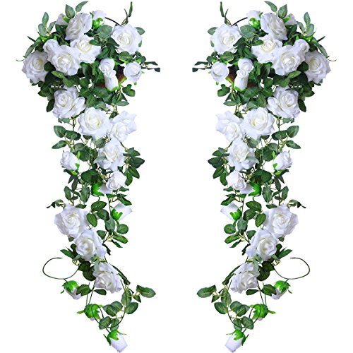 Flower Arch (PARTY JOY 6.5Ft Artificial Rose Vine Silk Flower Garland Hanging Baskets Plants Home Outdoor Wedding Arch Garden Wall Decor,Pack of 2 (White))