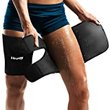 LODAY Neoprene Thigh Brace Support Hamstring Compression Sleeve Adjustable Upper Leg Wraps for Women and Men(Pair)