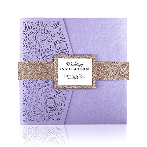 - PONATIA 20 PCS Laser Cut 3 Folds Square Wedding Invitations Cards with Belt for Wedding Birthday Engagement Greeting Invitations Cards Use+ Free Envelopes+ Free RSVP Cards (Lavender)