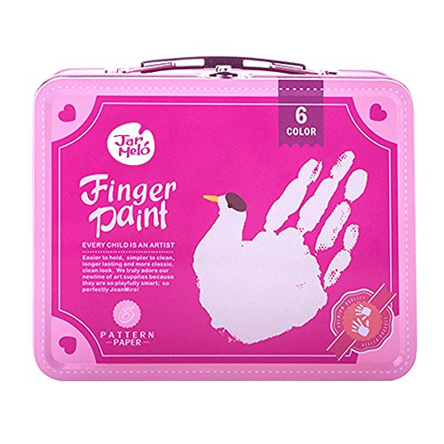 Jar Melo Childrens Finger Paint Kit; Non-Toxic;Washable; Portable Iron Pink Box; 6 Colors