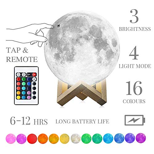 Moon Lamp, Moon Night Light mono living (4.7′) LED with Stand Remote Control, Nursery Night Light Birthday Anniversary…