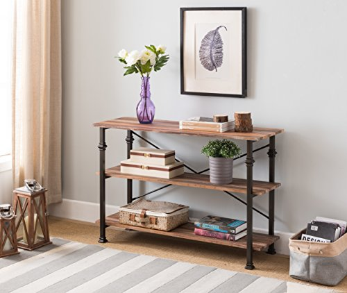 3-tier Weathered Oak/Metal Frame Industrial Style Console Sofa Table by (Oak Finish Sofa Table)