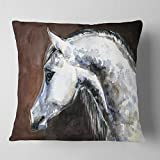 Designart CU13288-16-16 Gray Arabian Horse Watercolor' Abstract Throw Cushion Pillow Cover for Living Room, Sofa, 16 in. x 16 in, Pillow Insert + Cushion Cover Printed on Both Side