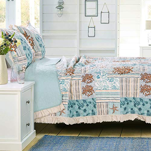 Greenland Home Key West Quilt Set, King, Seafoam