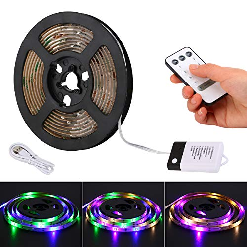 YDZM RGB LED Strip Light Kit Super Bright DC5V 4W,6.56ft,IP65 Waterproof Under Cabinet Lighting Strips with Remote Control Battery Powered or USB Powered,for Gardens,Christmas,Clubs,Parties