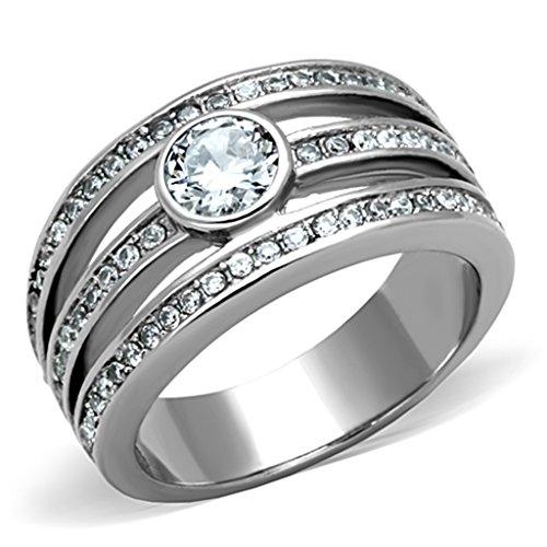 (Women's Stainless Steel Bezel Set Round Cut CZ Engagement Ring)