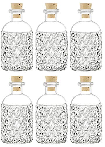 Nakpunar 6 pcs 8 oz Corked Boston Round Bottles with cork - Clear Quilted Style (6, 8 oz Quilted - Bottles 8 Ounce Six
