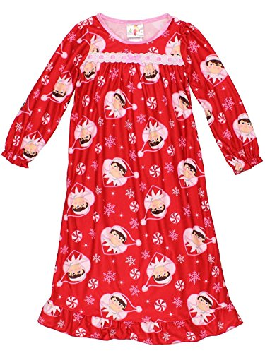 Elf on the Shelf Girls Flannel Granny Gown Nightgown Pajamas - 4T